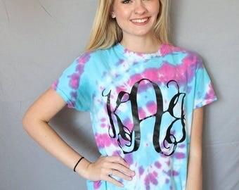 Tie-Dye monogram shirt-monogram shirt-tie dye-monogram gift-daughter gift