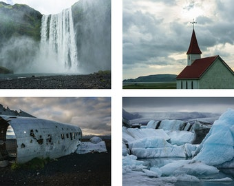 Iceland Landscape Photo, Iceland Art, Glacier Lagoon, Skogafoss, Waterfall Photography, Rustic Landscape Photography, Green and Blue, Church