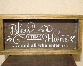 Bless this Home wood sign - Home Wood Sign - Personalized Wood Sign