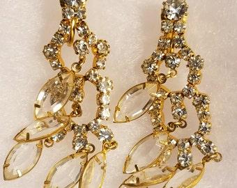 Vintage Rhinestone Chandelier Clip Earrings / FREE SHIPPING within U.S.