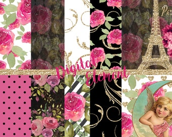 Digital Floral Paris Paper, Pink Paris Digital Paper, Scrapbook Paper, Printable Paris Vinatage Pages, Paris Background Paper. No. P173