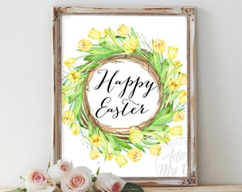 Easter Printable, Easter, Instant Download, Happy Easter Print, Printable, Home Decor, Easter Decor Art, Spring Art Print, Easter Decoration