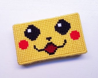 Pikachu Inspired 3DS Case Protector - 3DS Case Protector - Pikachu Case Protector - Pokemon Case Protector - Cross Stitch Case