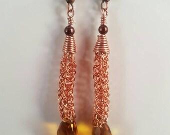 Hand made viking knit earrings