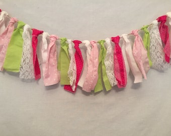 Fabric Bunting/Hot Pink Fabric Garland/Fabric Tassel Garland/Southern Chic Wedding/Fuchsia Garland/Fabric Garland/Rag Tie Garland