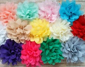 "Wholesale Chiffon Flowers, 3.75"" Fabric Flowers, Baby Headband Flowers, Craft Supply Flowers"