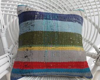 "Boho Kilim Pillow Multicolour Pillow 16""x16"" Floor pillow Decorative Kilim Pillow Throw Pillow handmade pillow Cushion covers Home Decor 988"