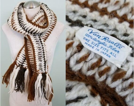 1970s Winter Scarf / Shades of Brown and Cream Knit / Super Long, Tassel Trimmed Winter Muffler / Van Raalte Made in Japan