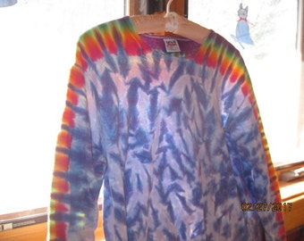 Trippy Tie Dye Long Sleeve Cotton T-Shirt L