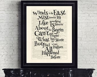 Mary Poppins Winds in the East Dictionary Page Instant Download Wall Art Print