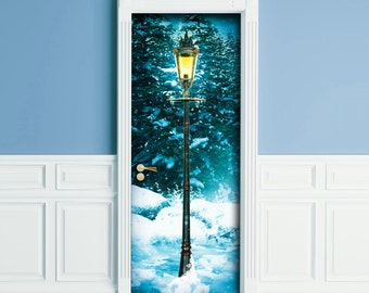 Sticker for Door / Wall / Fridge - Narnia lamp Post. Peel & Stick Removable Mural, Skin, Cover, Wrap, Decal, Poster
