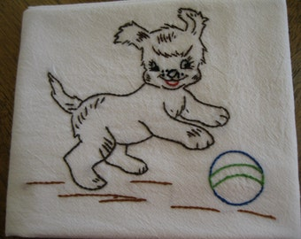 Embroidered Flour Sack Dishcloth