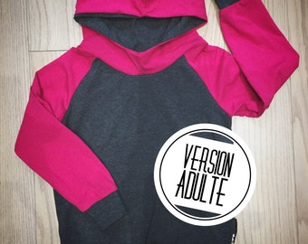 Hoodie Womens, dark pink and charcoal grey bamboo