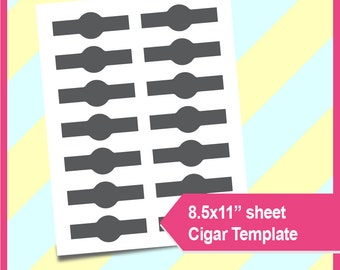"Instant Download Cigar wrapper Template, PSD, PNG and SVG Formats,  8.5x11"" sheet,  Printable 038"
