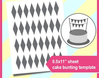 "Instant Download, cake bunting banner Template,  PSD, PNG and SVG Formats,  8.5x11"" sheet,  Printable 018"