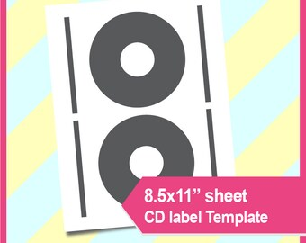 "Instant Download, cd label template diy, dvd label template, PSD, PNG and SVG Formats,  8.5x11"" sheet,  Printable 034"