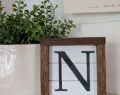 Rustic farmhouse inspired ultra mini shiplap initial framed wood sign