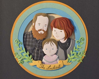 Paper cut custom portrait. Paper art. Father's day gift. Mother's day gift. Personalized family portrait.