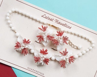 Crysta vintage necklace and earring set - Red ON SALE