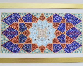 Differences-Unique Design- Illumination, painting on hand treated paperboard with 23, 22 ct and 18ct gold with acrylic, gouache, watercolour