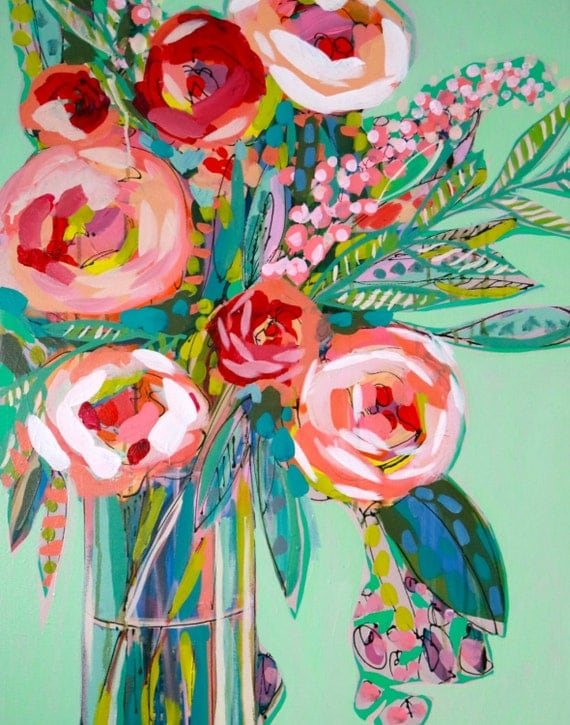Mint and Pink Roses Abstract Floral Giclee Art Print, Made To Order, Impressionist Fine Art Print, Home Decor by Amanda Evanston