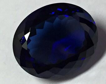 Sapphire Blue Dark. Oval 12x10 mm 6,55 Ct. Monosital Created Gemstone. US@GEMS