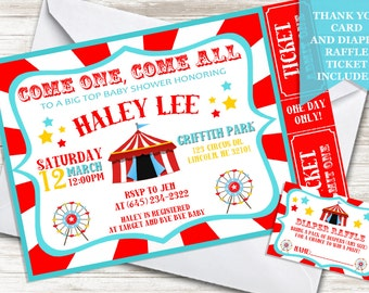 Circus Baby Shower Invite 5x7 Invitation Digital Sprinkle Big Top Carnival Theme