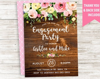 Rustic Engagement Invitation Party Invite Digital Personalized Wood Floral Watercolor Flowers 5x7