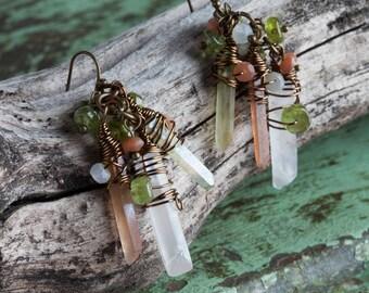 Quartz Earrings | Dangly Earrings | Crystal Jewelry | Bohemian Earrings | Boho Earrings | Dangle Earrings | Boho Jewelry