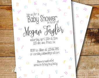 Gender neutral baby shower invitation | ABC Invitation | Baby Shower Invitation