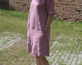 Loose linen dress. Oversized tunic dress. Soft linen. Washed linen tunic. Round neck dress.