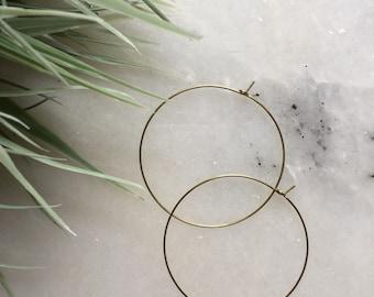 Ultra Thin Brass Hoop Earrings