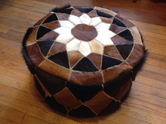 24 rustic hassock of natural cowhide leather pouf for Small storage hassocks