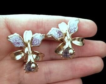 screw back earrings, dainty earrings, pretty earrings, gold and purple earrings, flower earrings