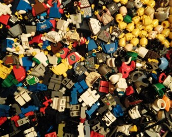 Bulk Lego Lot of 100 + Mini Figure Parts and Accessories Creates 25 Mini Figures Great Gift!