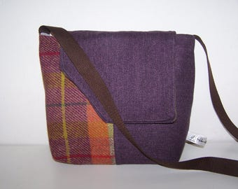 Harris tweed and purple tartan satchel. Purple and orange tweed, tartan satchel, bag.  birthday , anniversary gift, gift for her,mothers day
