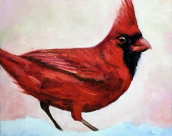 Red Cardinal Bird, Original Oil painting, gifts for men gifts for women, wildlife picture, Wildlife Art, Bird Art, Small works of art