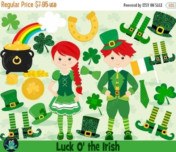 75% OFF SALE Saint Patrick's Day Clipart, Shamrock Clipart, St ...