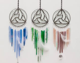 Water Stained Glass Windchime (Light blues/clears/whites)