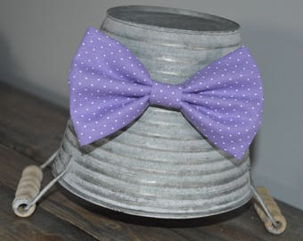 Light Purple and White Polka Dot Bow