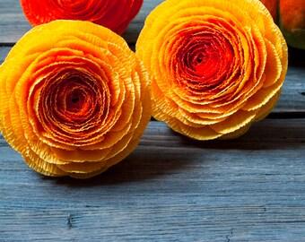 Orange full ranunculus, bridal bouquet, bridesmaids bouquet, wedding bouquet, paper flowers, wedding paper flowers, crepe paper flowers