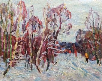 "VINTAGE IMPRESSIONIST ART, Original Oil Painting ""On a walk"" by Soviet Ukrainian artist M.Borymchuk 1975, Woodland scenery, Winter Landscape"