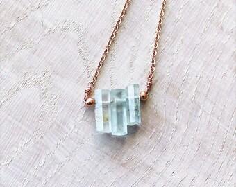Raw Aquamarine Crystal Necklace on Rose God Filled Chain, Rough Aquamarine, Organic Aquamarine, Aquamarine Jewelry, March Birthstone