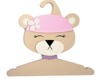 Children Clothes Hanger 3D-designed Hand made - Bear Girl