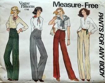 Uncut 1970s Vogue Vintage Sewing Pattern 1798, Size 32; Misses' Pants