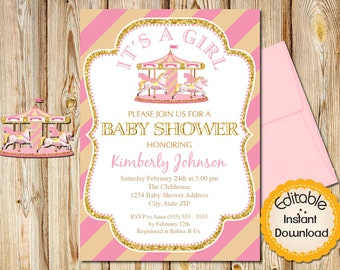 """Baby Shower Invitation, Girl, Pink and Gold Carousel, INSTANT download, EDITABLE in Adobe Reader, DIY, Printable, 5""""x7"""""""