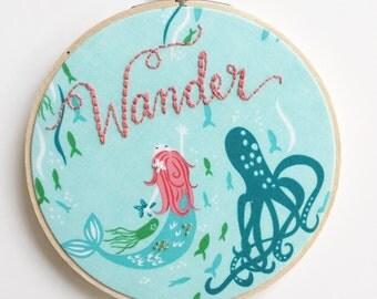CUSTOM Mermaid Wall Art/PERSONALIZED Embroidery Hoop Art/Kids Room Decor/Nursery Art/Nursery Decor/Girls Room Decor