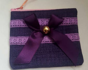 Coin Purse, Purple, ribbon, Lace Purse, Zippered Purple Purse, Zippered Pouch, Lined Pouch, Purple Ribbon Pouch, Zippered Coin Purse, Purse