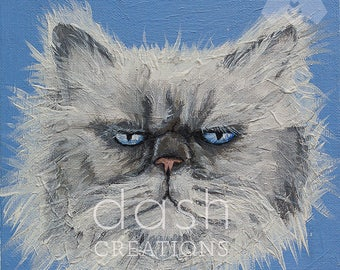 Persian Cat Glicée Print  - White and Grey on Blue Background