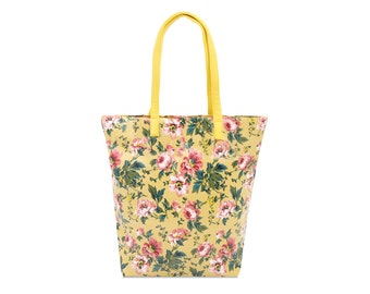 Zip tote bag - Pink peony- Oilcloth bag- Ladies handbag- Ladies purse- Oil cloth Tote- Women Shoulder bag - Market Tote bag - Floral Shopper